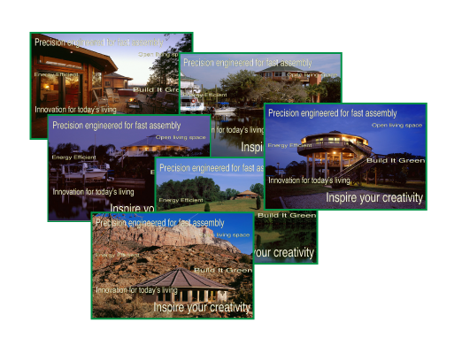 A collage of new construction home images